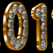Golden 2012 year incrusted with diamonds — Stock Photo
