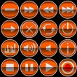 Round orange Control panel icons or buttons — ストック写真