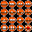 Round orange Control panel icons or buttons — Stockfoto
