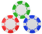 Three Casino chips over white — Stock Photo