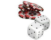 Casino or roulette chips and dies over white — Stockfoto