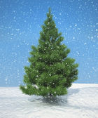 Christmas firtree during snowfall — Stock Photo