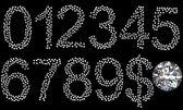 Numerais de diamante, símbolo de dólar e gem — Foto Stock