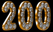Golden 200 numeral incrusted with diamonds — Stock Photo