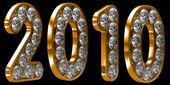 Año 2010 oro incrustado con diamantes — Foto de Stock
