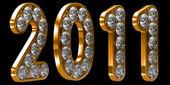 Año 2011 oro incrustado con diamantes — Foto de Stock