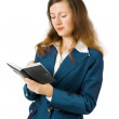 Business woman with notebook — Stock Photo #3819590