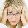 Disheveled girl in glasses — Stock Photo