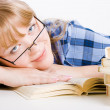 Blonde in glasses with books — Stock Photo #3869395