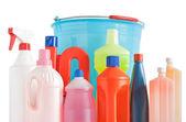 Detergent bottles and bucket — Stock Photo