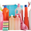 Plastic detergent bottles and bucket — Stock Photo