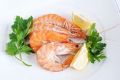 Plate with shrimps closeup — Stock Photo