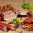 Meat and sausages — Stok fotoğraf