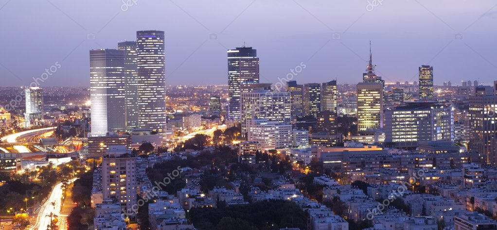 Night city, Tel Aviv at sunset, Israel — Stock Photo #2858233