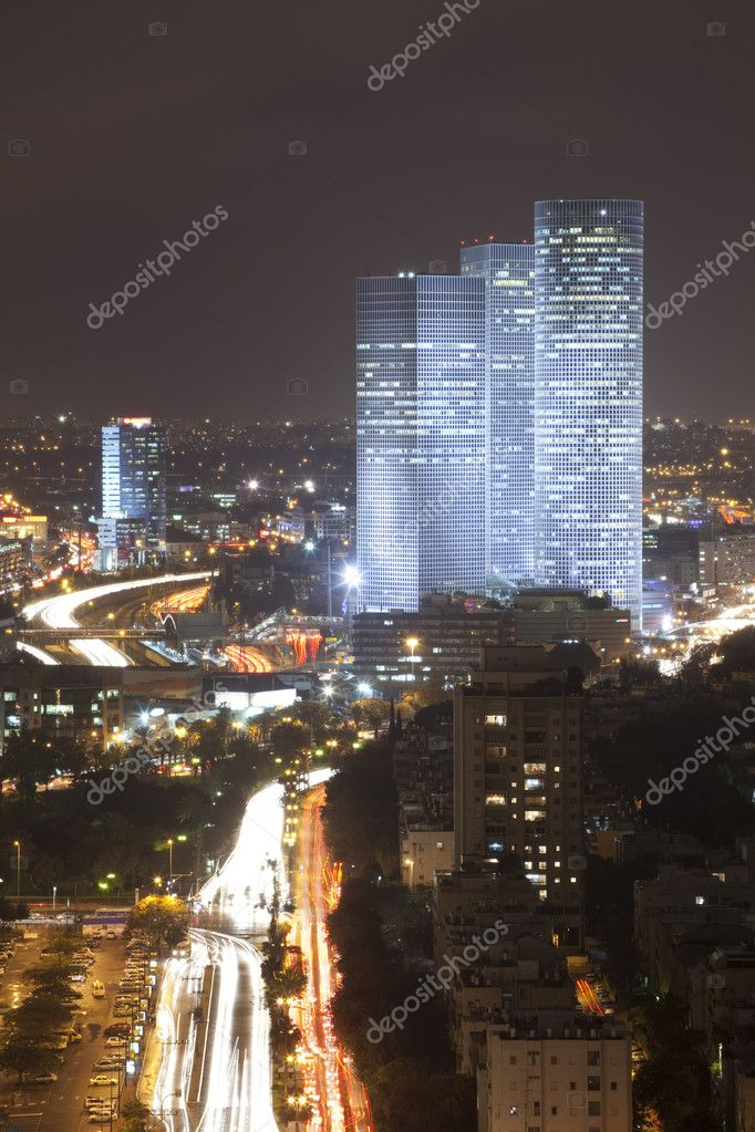 Night city, Tel Aviv at sunset, Israel — Stock Photo #2858613
