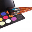 Make-up palette with brushes — Stock Photo