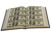 Dollars in the books — Stock Photo