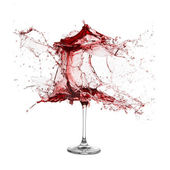 Explosion of a glass with red wine — Stock Photo