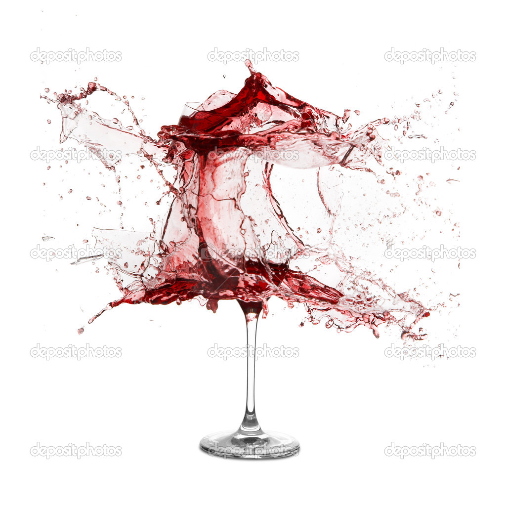 Explosion of a glass with red wine on a white background — Stock Photo #3219438