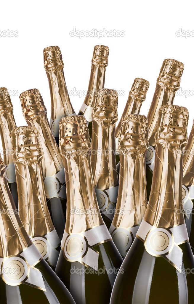 Lot of champagne bottles on a white background — Stock Photo #3219467