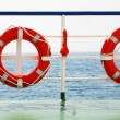 Two life buoys by the ship — Stockfoto