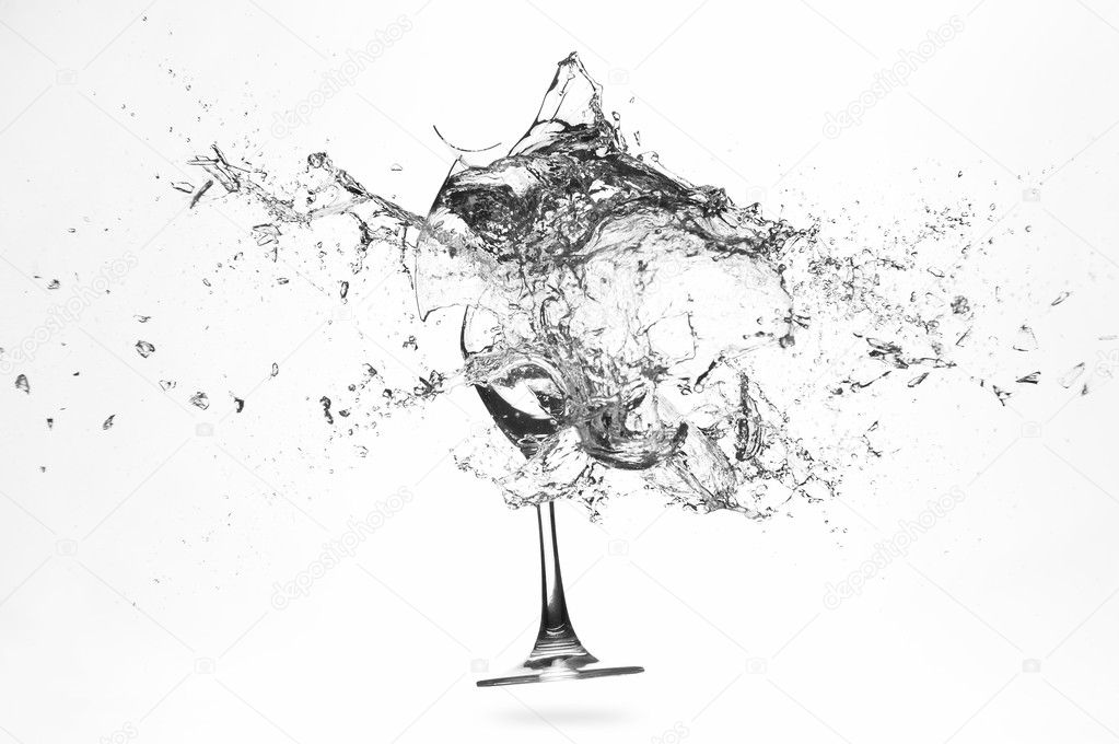 Explosion of a glass with water on a white background  Foto Stock #3308051