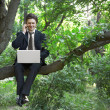 Stock Photo: Business musing laptop