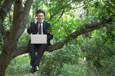 Business man using laptop — Stock Photo
