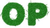 Dvě písmena abecedy zelené trávy — Stock fotografie