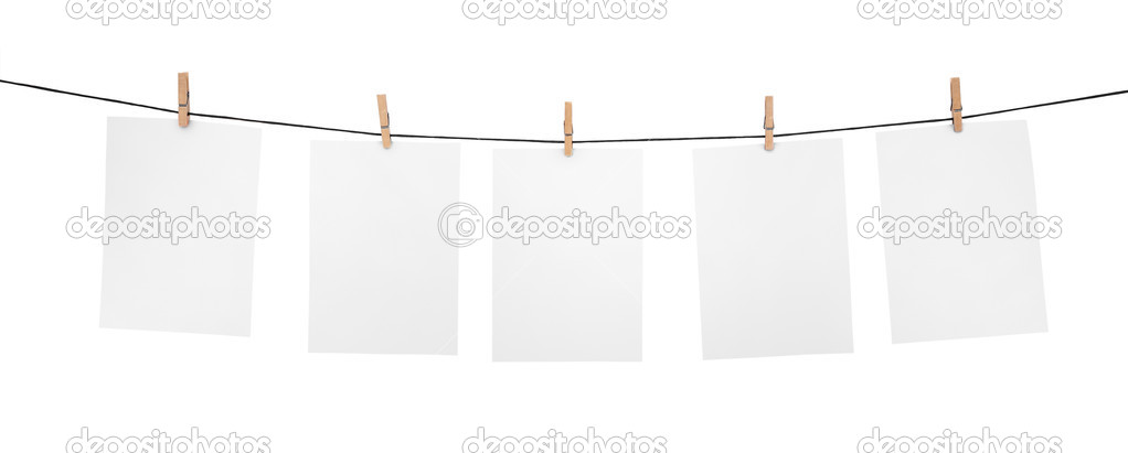 5 clean sheets on clothesline with clothespins isolated on white background — Stock Photo #3578808