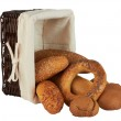 Group of different bread products in basket — Stock Photo
