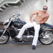 Shirtless caucasian biker — Stock Photo #3472470