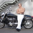 Shirtless caucasian biker — Stock Photo