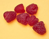 Raspberries on Yellow — Stock Photo
