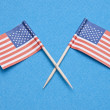American Flags on Blue — Stock Photo