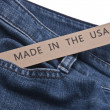 Foto Stock: Denim Blue Jeans Made in USA
