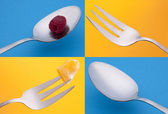 Vibrant Silverware Grouping — Stock Photo