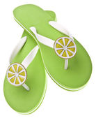Lime Themed Flip Flops — 图库照片