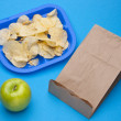 Healthy vs Junk Food School Lunch — Stock Photo
