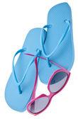 Flip flips och solglasögon — Stockfoto