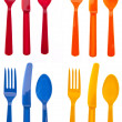 Sets of Vibrant Plastic Silverware — Stock Photo #3061692