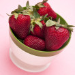 Bowl of Fresh Strawberries on Pink — Stok fotoğraf