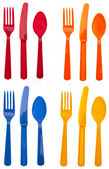 Sets of Vibrant Plastic Silverware — Stock Photo