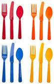 Sets of Vibrant Plastic Silverware — Stock Photo