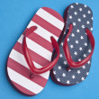Patriotic Red White and Blue Flip Flop S - Стоковая фотография