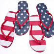 图库照片: Patriotic Red White and Blue Flip Flop S