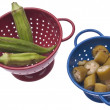 Fresh and Canned Okra - Stock Photo