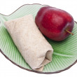 Wrap on a Plate with Apple — Stock Photo