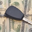 Car Key on Money Background — Stock Photo