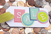 Sale Tag with Money Background — Stock Photo